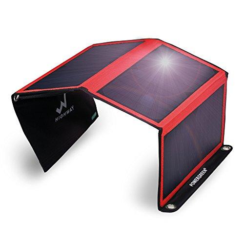 PowerGreen® 21W ソーラーチャージャー/パネル 2usbポート 防水 iPhone iPad等パワーバンク アウトドア 赤
