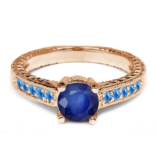 0.30 Ct Round Blue Sapphire Swiss Blue Topaz 925 Rose Gold Plated Silver Ring