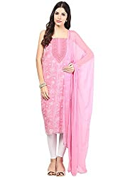 Nandini's Dark Pink Lucknawi Chikan Flowy Cotton Hand Embroidered Dress Material/ Unstitched Salwaar Kameez with Pure Chiffon Dupatta by SHENARO Lifestyle