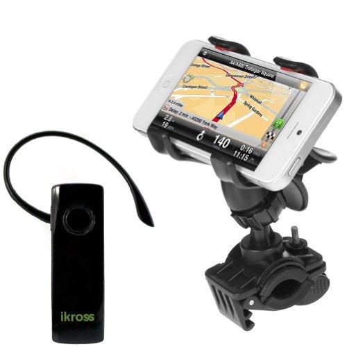 Ikross Universal Bike Mount Holder + Wireless Bluetooth Handsfree Headset For Samsung Galaxy S5 S4, Galaxy Note 3 2, Ativ Se, Galaxy S4 Mini I9190, Galaxy Light And More