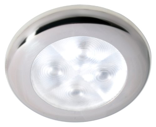 Hella 959596551 '9596 Series' Rakino Warm White 12V Dc Round Led Interior Light With Polished Stainless Steel Rim And Spot Light Pattern
