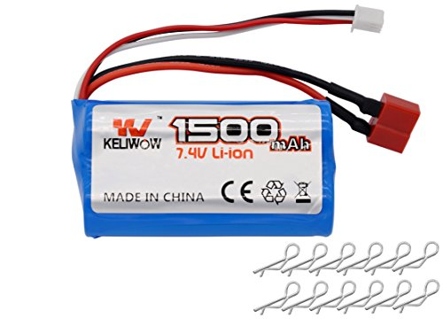 KELIWOW 7.4V 1500mAH 2S 25C Rechargeable Lithium Battery for 1/12 Scale Remote Control Vehicle T Plug for KW-C01/C02/C03/C04/C05 (Rc Car Lipo Battery Pack compare prices)