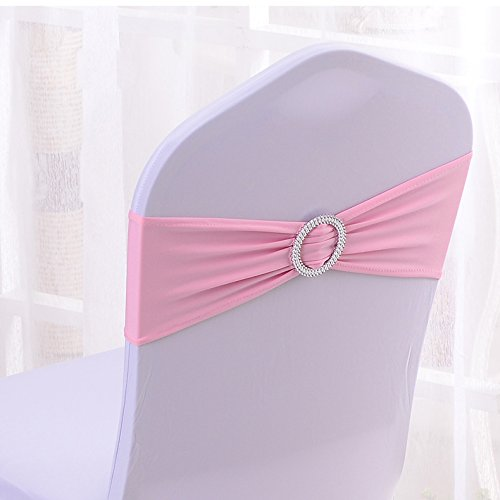 50PCS Spandex Chair Sashes Bows Elastic Chair Bands With Buckle Slider Sashes Bows For Wedding Decorations (Light Pink)