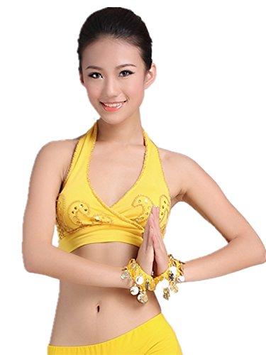 Dancewear Danza del ventre Custome Sling Embroidered Bra & lunga Spun Glass Vestito yellow