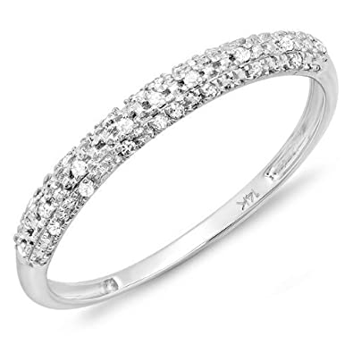 0.10 Carat (ctw) 14k White Gold Round Diamond Ladies Anniversary Wedding Band Stackable Ring 1/10 CT