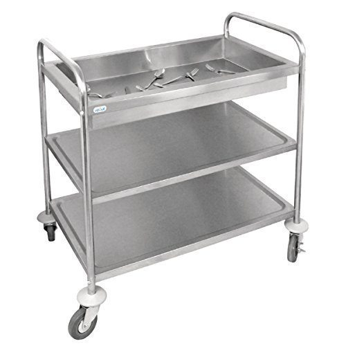 Vogue Stainless Steel Deep Tray Clearing Trolley 855 x 535 x 940mm
