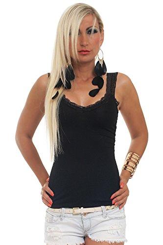 5588 Fashion4Young Damen Sexy Top in taillierter Form Spitze Gr. 34 36 38 verfügbar in 13 Farben