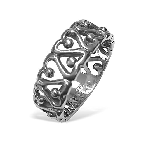 Cuore All Around Donna anello in argento Sterling 925 ossidato, argento, 59 (18.8), cod. BS-RING-103-9