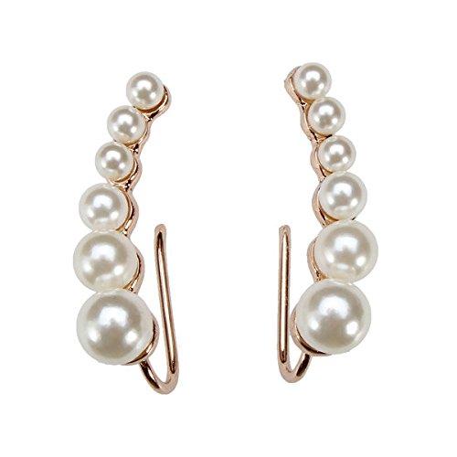 Eros Oro Placcato Argento Bianco perla Orecchini Ear Cuff per le donne