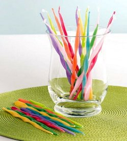 TAG Birthday Cupcake / Cake Twisted Style Party Candles (Tapers), Set of 24 7-inch Tall, Assorted Colors