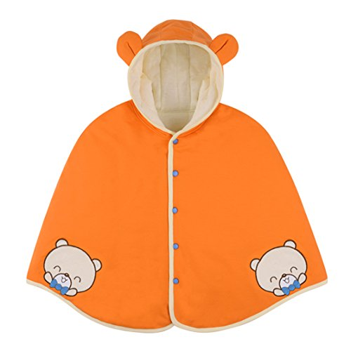 Baby Clothes Cloak Baby Kids Warm Hood Cape Coat 100cm (2-6years baby) (Orange)