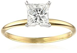 GIA Certified Classic 4 Prong 1cttw 14k Rhodium Plated Yellow Gold Engagement Ring, Size 6