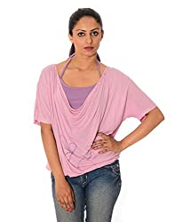 Oviya Women's Pink Solid Tops
