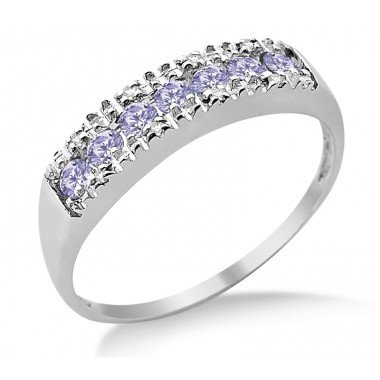 9ct White Gold Diamond Tanzanite Half Eternity Ring