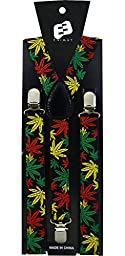 Enimay Great Quality Unisex Suspenders Rasta Marijuana 2