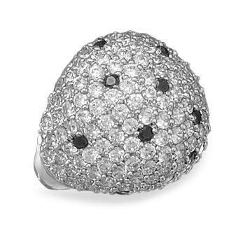 Rhodium Plated Brass CZ Fashion Ring / Size 7