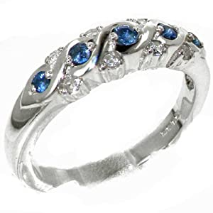 Luxurious Solid Sterling Silver Natural Sapphire & 0.16ct Diamond Eternity Anniversary Ring - Size K - Finger Sizes J to Z Available
