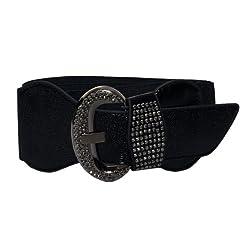 eVogues Plus Size Rhinestone Studded Leatherette Belt Black - One Size Plus