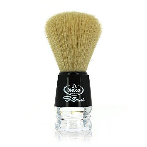 Omega s-brush pennello da barba con setole sintetiche nero 10019
