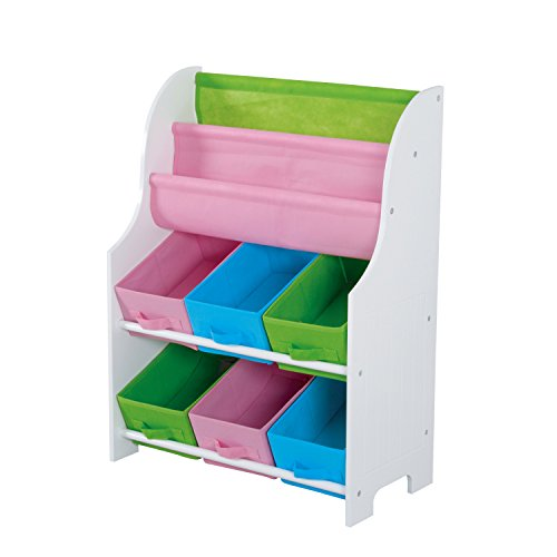 Cheap home basics book holder with 6 storage bin for Cheap book storage