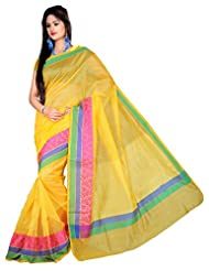 "Asavari ""Office Attire"" Mustard Yellow Supernet Cotton Banarasi Saree With Triple Weaved Borders"