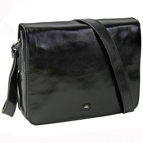 Borsa a tracolla, Borsa Messenger STORY UOMO in pelle nero The Bridge 052757/01/20