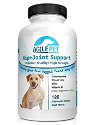 Agile Pet BEST PREMIUM Extra Strength Glucosamine for Dogs - Hip and Joint Supplement - 120 count - 800mg Glucosamine with Chondroitin, MSM & Vit C for Health & Mobility - Large & Small Dogs