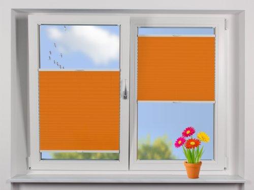 """EFIXS Plissee auf Maß ~ """"TAG"""" ~ Breite: 80,1 bis 90cm x Höhe: 160,1 bis 180cm ~ Montage: Festschrauben im Glasfalz ~ Stoff: orange ~ Schienen: weiß ~ Maßanfertigung ~ andere Größen im Angebot wählbar"""