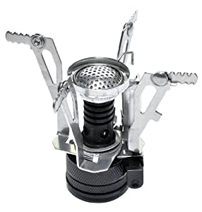Ultralight Backpacking Canister Camp Stove with Piezo Ignition 3.9oz (silvery)