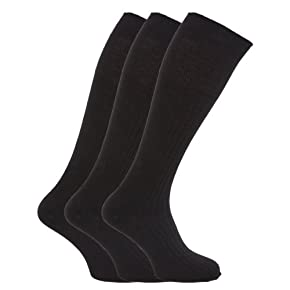 Mens ribbed knee high 100% cotton socks (Pack of 3)