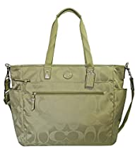 COACH Signature Nylon Baby Bag/ Multifunction Tote in Silver / Sage Green 77577