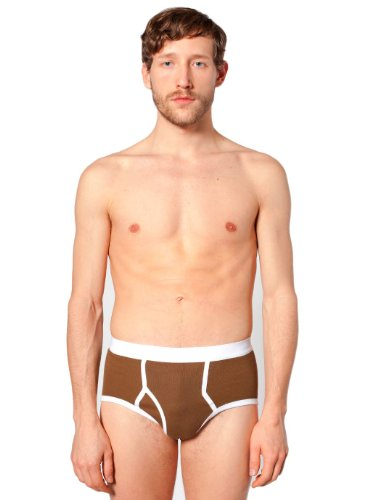 American Apparel Baby Rib Brief X-Small-Safari Brown White man panties