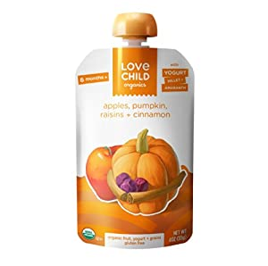 Love Child Organics - Yogurt & Grain - Apples, Pumpkin, Raisins & Cinnamon Pouch - Pack of 6 Pouches