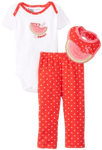 Peanut Buttons Baby-Girls Newborn Girl 3 Piece Watermelon Drop Down Bib Sets - 1