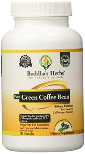 Pure Green Coffee Extract 400 - 50% Chlorogenic Acid - 120 Green Coffee Capsules - Green Coffee Weight Loss - Green Coffee Pills - Green Coffee Bean Extract Diet