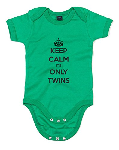 Keep Calm It'S Only Twins, Printed Baby Grow - Kelly Green/Black 0-3 Months back-1089405