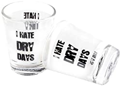 Happily Unmarried Dry Day Shot Glass, Set of 2