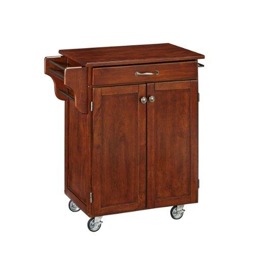 Home Styles Cuisine Cart, Cherry Finish with Cherry Top Light Oak 2 Door Cabinet