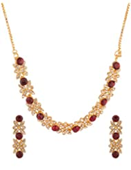 Voylla Red Metal Necklace Set For Women