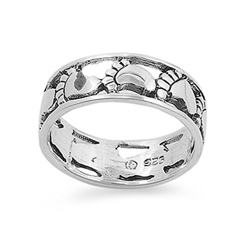 Sterling Silver Woman'S Footprint Baby Feet Eternity Ring Comfort Fit Band 7Mm Size 10 Valentines Day Gift
