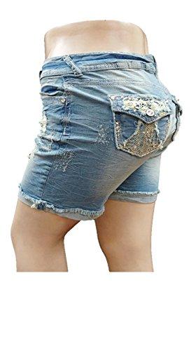 2f2b20850f Wf26 Women s Plus Size Destroy Short Stretch Distressed Ripped Blue Denim  Jeans. by 1826 jeans
