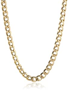 Klassics Men's 10k Yellow Gold 5.5mm Semi Hollow Diamond-Cut Curb Chain, 22