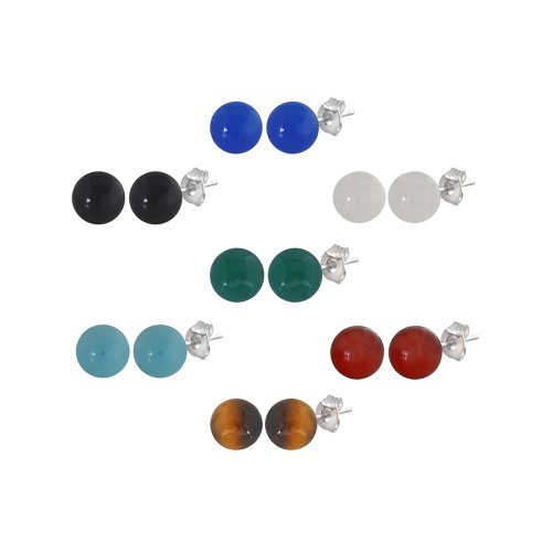 Set of 7 Sterling Silver Gemstone Stud Earrings