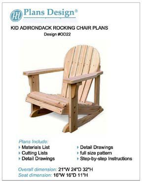 Child Adirondack Rocking Chair Woodworking Plans,Trace & Cut , #ODF22