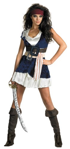 Disguise Unisex Adult Sassy Jack Sparrow, Blue/White, Medium (8-10) Costume