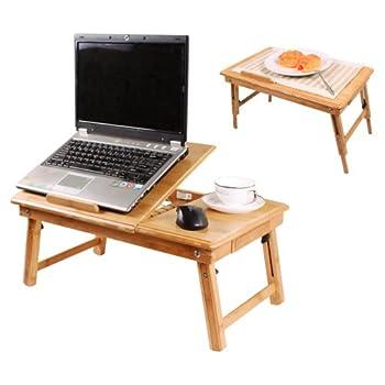 pas cher table de lit pliable pour pc portable notebook double plateaux en bambou fbt04 n. Black Bedroom Furniture Sets. Home Design Ideas