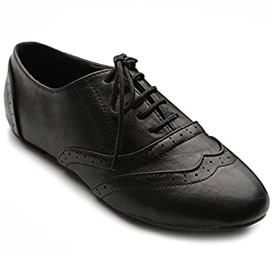24ffd9871aa Ollio Women s Shoe Classic Lace Up Dress Low Flat Heel Oxford