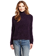 Indigo Collection Roll Neck Fluffy Jumper