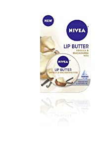 Nivea Lip Butter Carded Tin, Vanilla and Macadamia Kiss, 0.59 Ounce