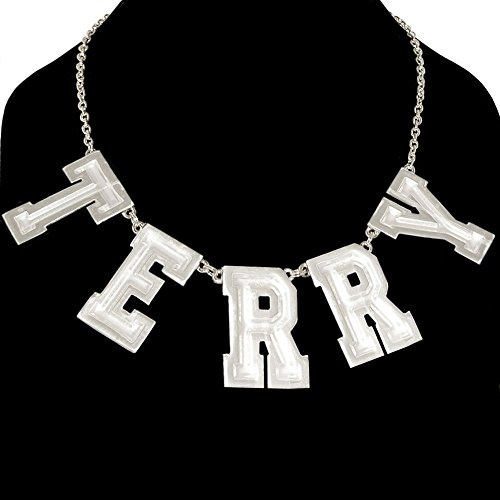 Custom Personalized Nameplate Necklace 5 Huge Letters Usa! , In Silver Tone